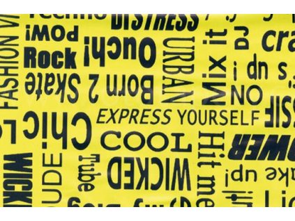 Samolepící fólie imitace Decor, Text žlutý