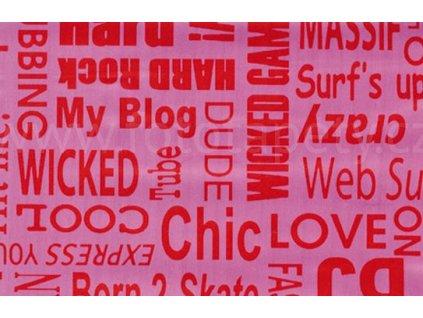 Samolepící fólie imitace Decor, Text růžový, červený