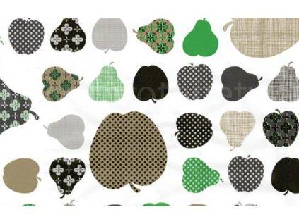 Samolepící fólie imitace Decor, Jablka a hrušky - zelené