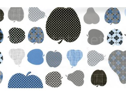 Samolepící fólie imitace Decor, Jablka a hrušky - modré