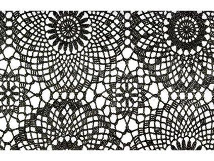 Samolepící fólie imitace Decor, Černé háčkované růže