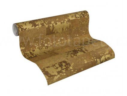 Vliesová tapeta na zeď Saffiano, 0,53x10,05m, 3406-25 - hnědo zlatá kůže