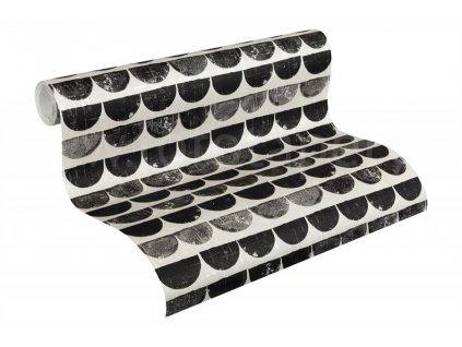 Vliesová tapeta Scandinavian Style, 0,53x10,05m, 3424-42 - černé půlkruhy