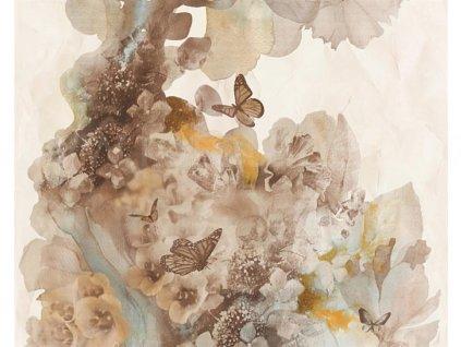 Vliesová tapeta na zeď Free Nature, 0,53x10,05m, 3445-14 - hnědé květy s motýli