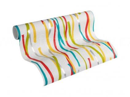 Vliesová tapeta Pop Colors, 0,53x10,05m, 3559-92 - barevné proužky