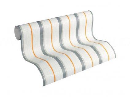 Vliesová tapeta na zeď Esprit Kids 5, 0,53x10,05m, 3570-73 - šedo oranžové pruhy