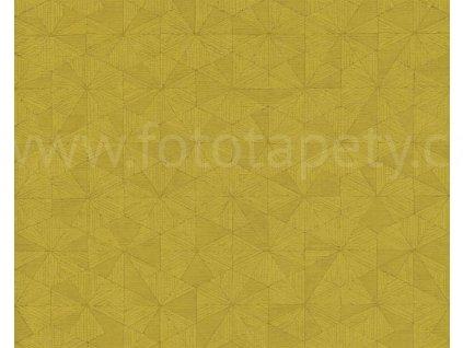 Vliesová tapeta Four Seasons, 0,53x10,05m, 3589-58- žlutozelená geometrie