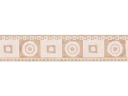 Vliesová bordura na zeď Only borders 10, 13cm x 5m, 5435-78 - Béžové kruhy