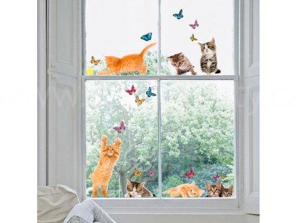 Elektrostatická okenní dekorace Kočky a motýlci, 31x31cm