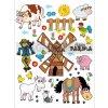 Dekorace K 0830 - Kůň, kráva, zvířátka a větrný mlýn, 65 x 85 cm