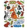 Samolepky na zeď - ZOO - klokan, slon, pštros, velikost archu 65 x 85 cm