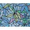 Barevná transparentní samolepící folie, Modré listy - vitráž