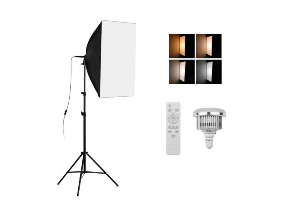 (4500lm!) Foto Lampa Studio 1X LED Softbox Světlo + 1X Stativ + 1X Dálkový Ovladač