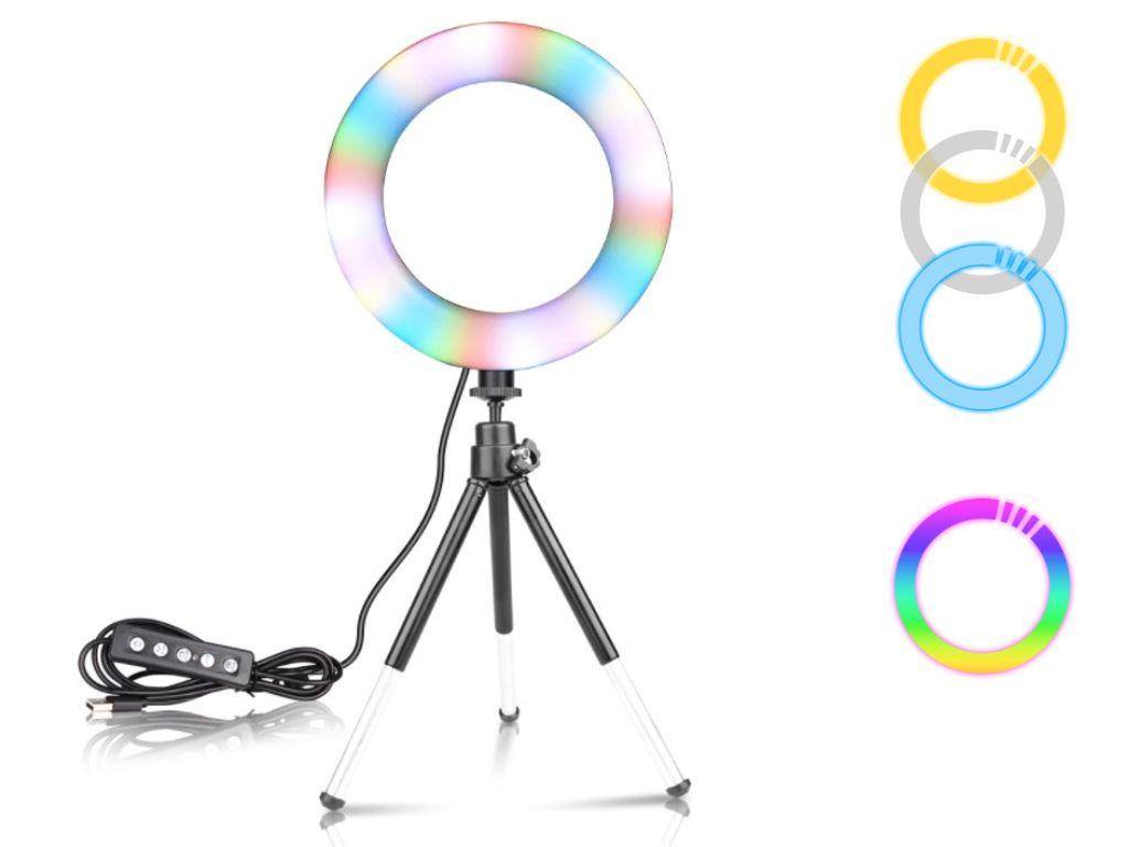 """16 cm Průměr 6"""" RGB Kruhové Foto Světlo + Stativ 17,5 cm"""