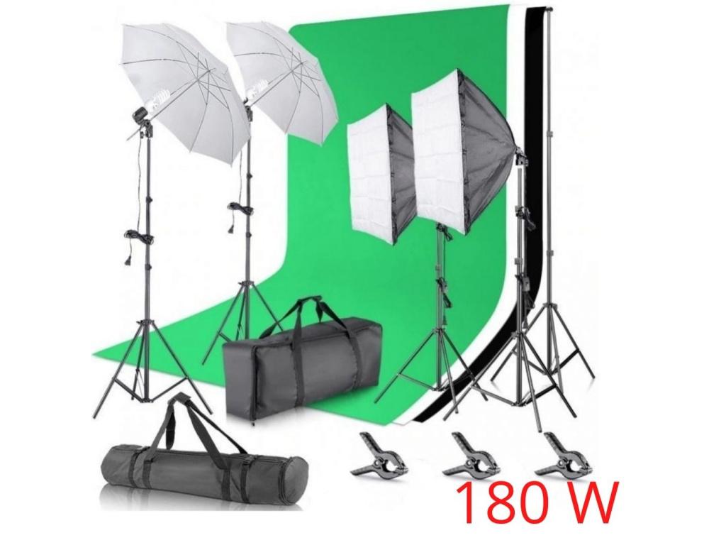 Sada Fotostudio 2x Softbox 2x Deštník Pozadí Stativy Plátno Komplet Foto Video Sada Studio