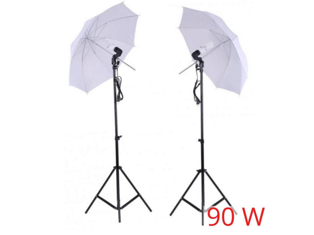 SET 2x Foto Deštník Lampa Fotostudio, Žárovka, Stativ 90W