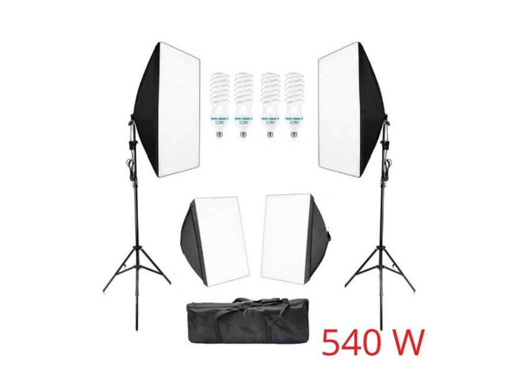 Sada Foto Studio 4x softbox světlo + 4x žárovky + 2x stativy + 1x konstrukce pozadí