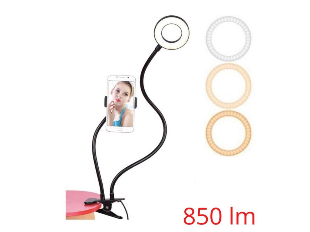 Flexibilní stolní kruhové Foto Světlo Fotografický Kruh Selfie Light Photo Video YouTube Ring + Klipsna