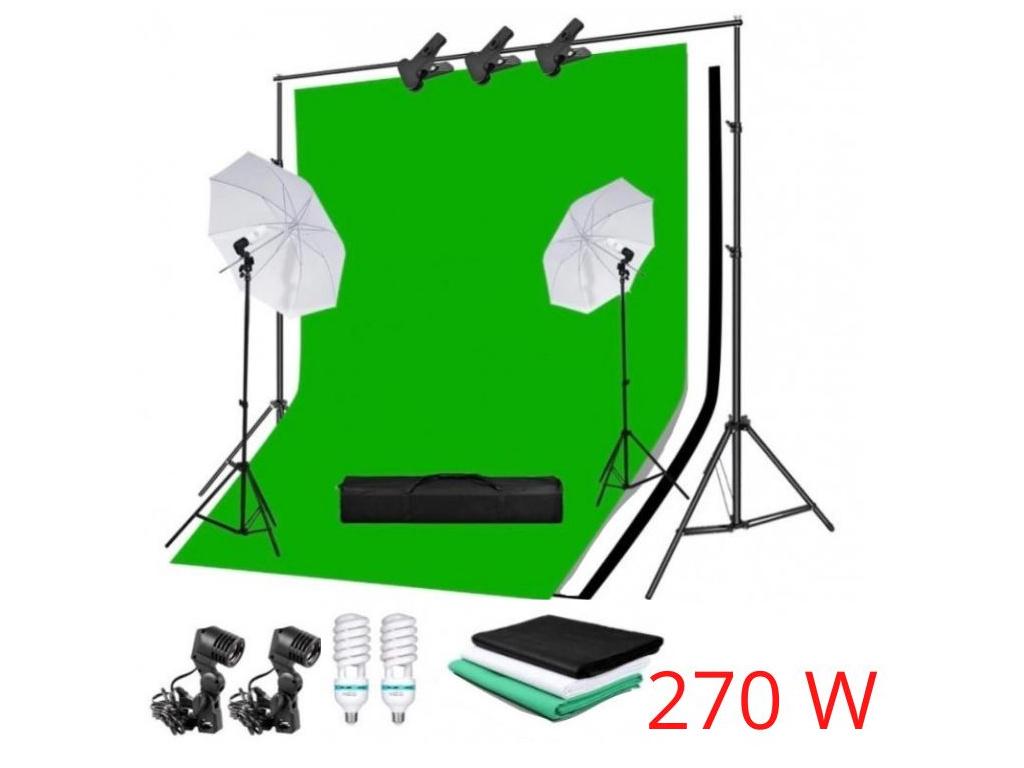 Sada Fotostudio 2x Deštník (90W) Stativy Plátno Komplet Foto Video