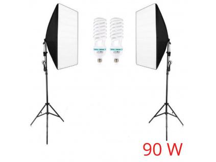 Foto Lampa Studio 2x softbox světlo + 2x stativ + 2x žárovky, 90W