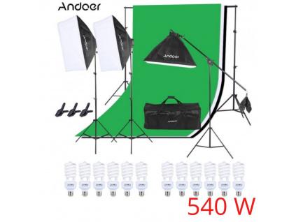 Sada Výkonné Fotostudio 3x Softbox (540W!) Pozadí Stativy Plátno Komplet Foto Video Sada Studio