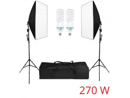 Foto Lampa Studio 2x softbox světlo + 2x stativ + 2x žárovky, 270W!