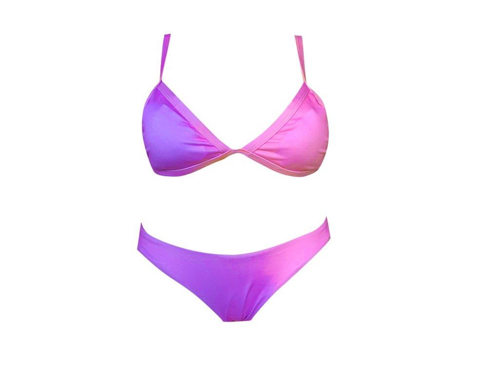 Dámské bikini měnící barvu, fialovo-růžové