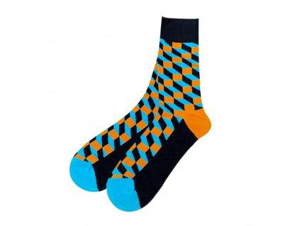 Four Seasons ponožky Optický klam oranžové