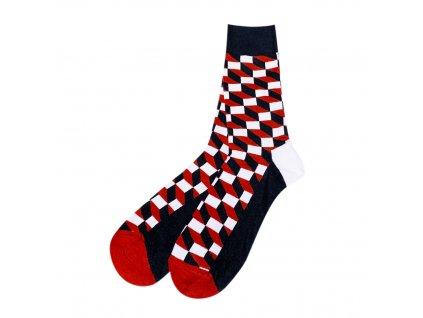 Four Seasons ponožky Optický klam červené