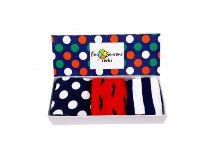 Dárková krabička s puntíky + 3ks ponožek 2