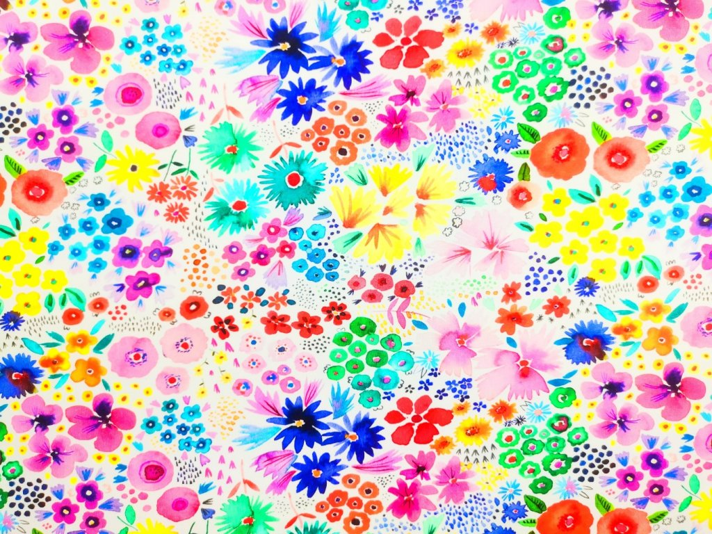 Úplet potisk - Barevné květy