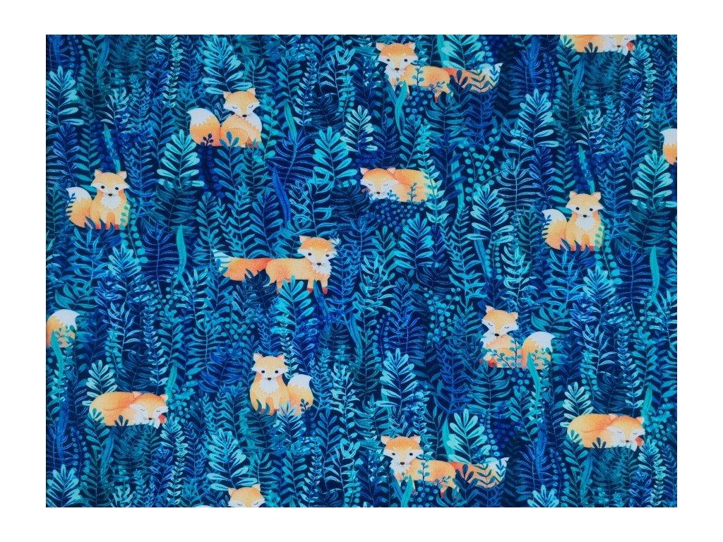 Teplákovina potisk - Liška a rostlinky na modré