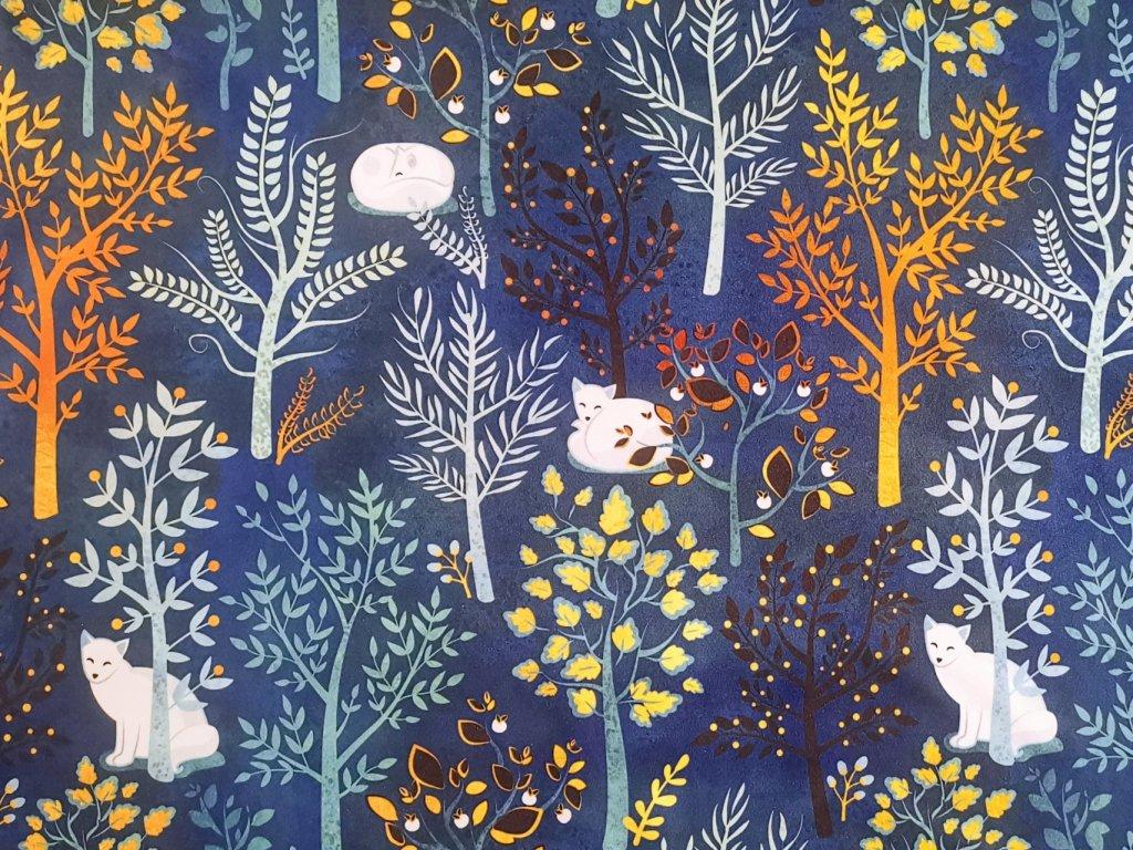Zimní softshell NEPRUŽNÝ s BERÁNKEM - Liška v modrém lese