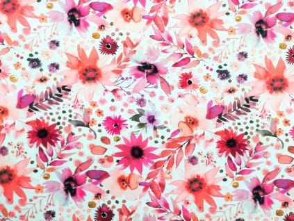 Silky potisk - Červené květy