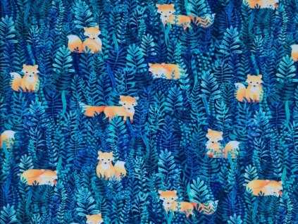 Úplet potisk - Liška a rostlinky na modré
