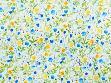 Silky potisk - modré a žluté květy