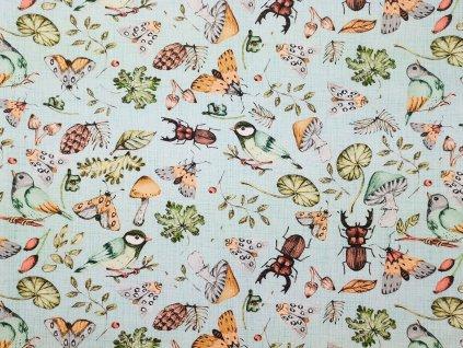 Zimní softshell NEPRUŽNÝ s BERÁNKEM - Hmyzí svět