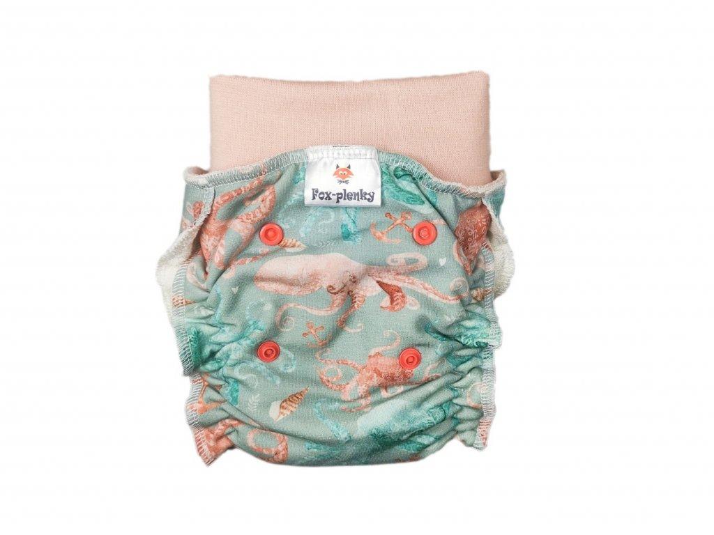 Natahovací kalhotovka růžové květinky PAT