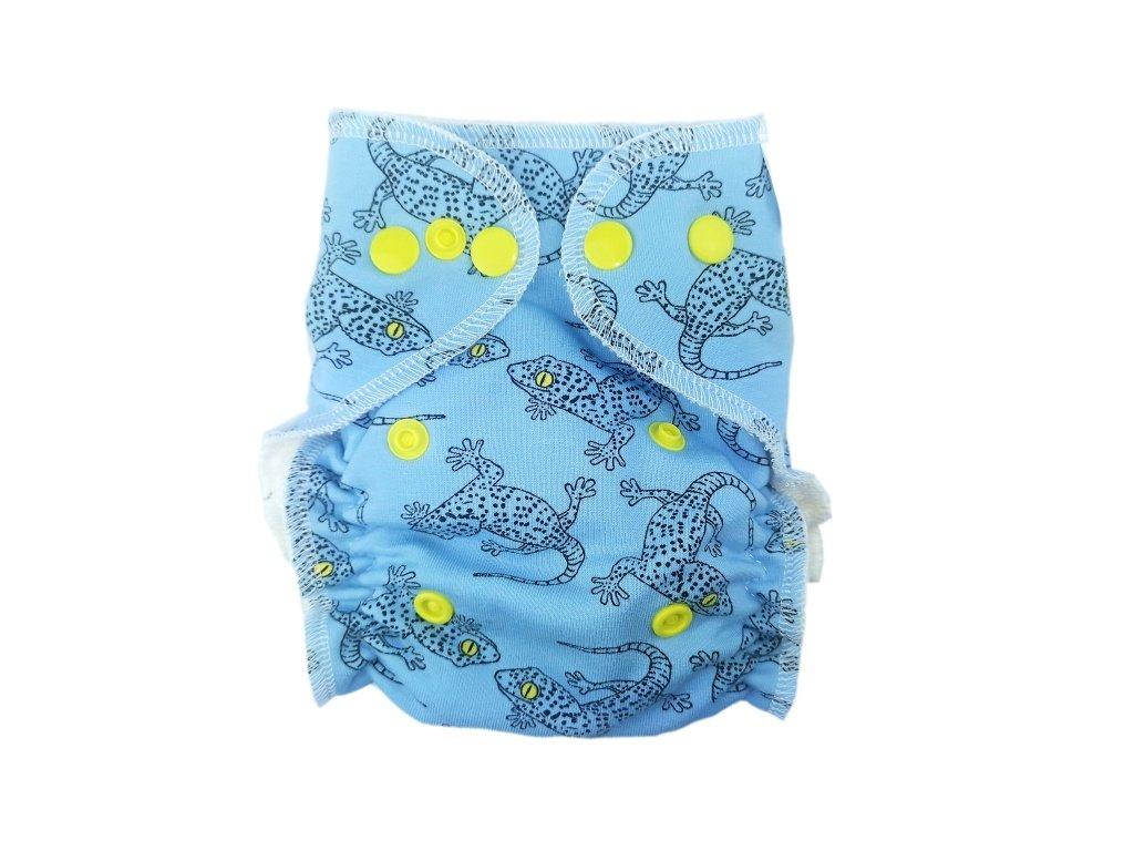 Novorozenecká kalhotovka PAT modré ještěrky