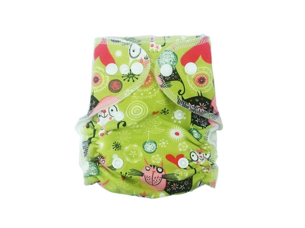 Novorozenecká kalhotovka PAT kočky na zelené