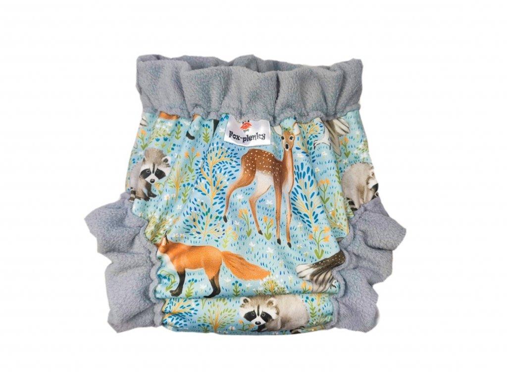 Natahovací svrchní Vel.XL klasik pul - zvířátka v mátovém lese