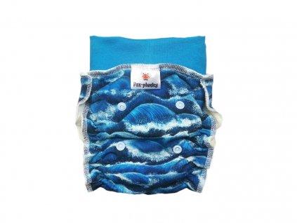 Natahovací kalhotovka modré ornamenty PAT