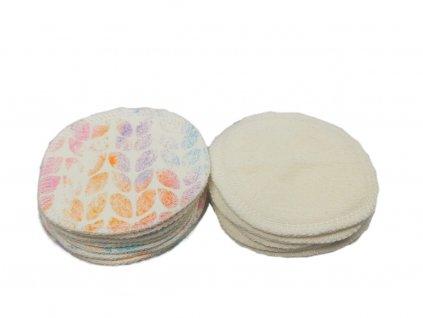 1 ks odličovací tampónek pastelové lístky - biobavlněný úplet