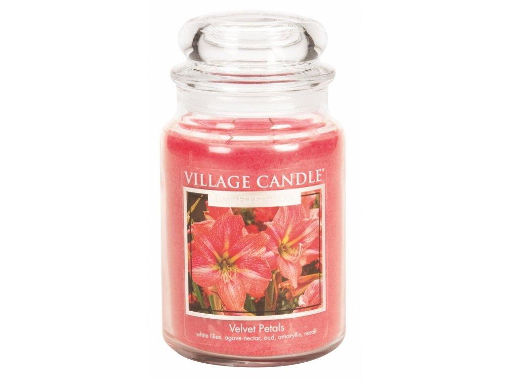 Village Candle Vonná svíčka ve skle, Sametové Květy - Velvet Petals, 26oz Premium