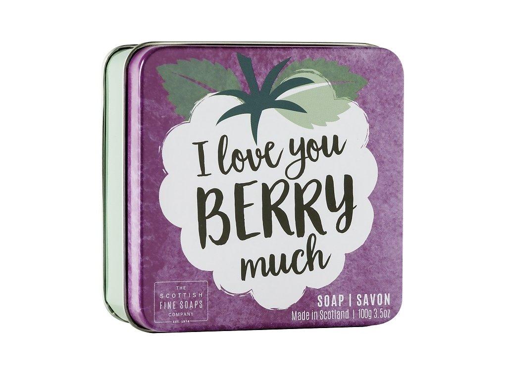 """Scottish Fine Soaps Mýdlo v plechu - """"I love you berry much"""", 100g"""
