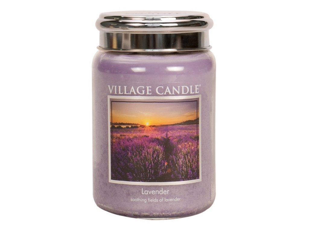 Village Candle Vonná svíčka ve skle, Levandule - Lavender, 26oz