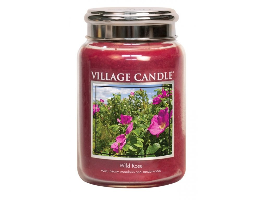 Village Candle Vonná svíčka ve skle - Divoká růže - Wild Rose, 26oz