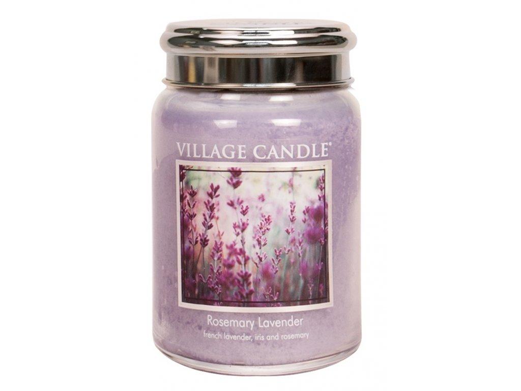 Village Candle Vonná svíčka ve skle, Rozmarýn Levandule - Rosemary Lavender, 26oz