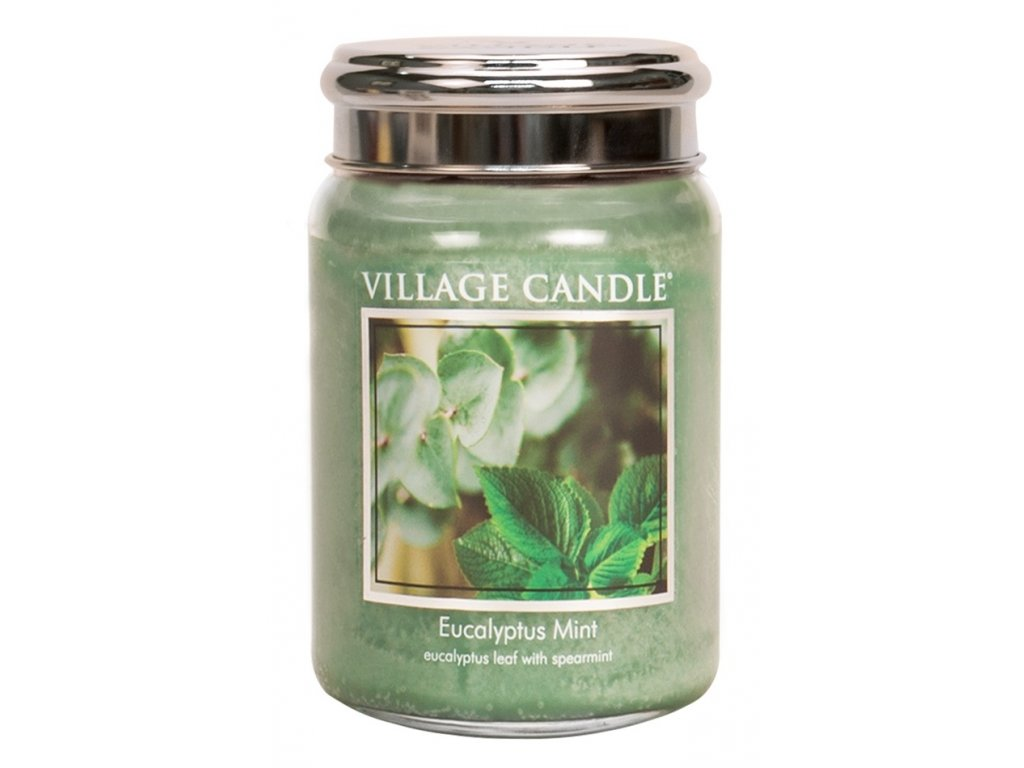Village Candle Vonná svíčka ve skle, Eukalyptus a máta - Eucalyptus mint, 26oz
