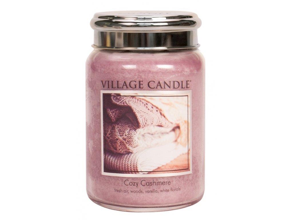 Village Candle Vonná svíčka ve skle, Kašmírové pohlazení - Cozy Cashmere, 26oz